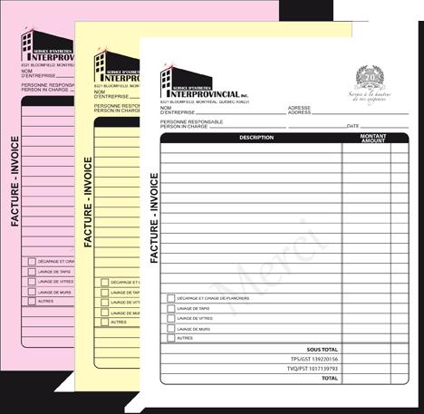 custom invoices 3 parts Imprimerie avantage